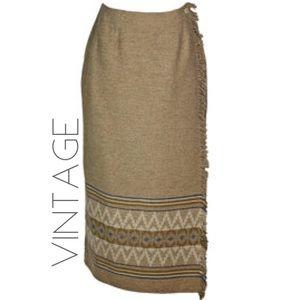 VTG 90s LC wool wrap fringe boho maxi skirt 10 M